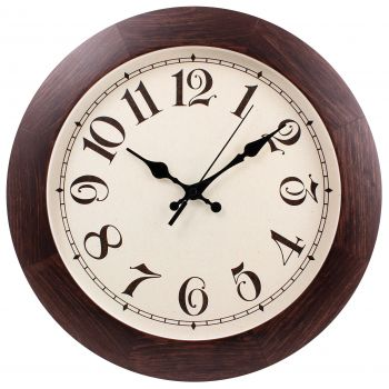 Часы круглые деревянные 300 мм, темно-коричневые