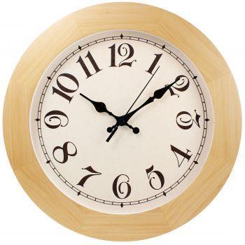 Часы круглые деревянные 300 мм, бежевые