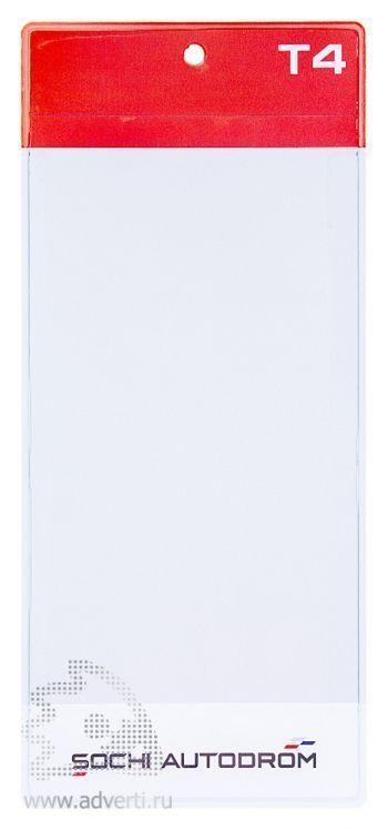 Вертикальный карман для бейджа с планкой под логотип, анфас
