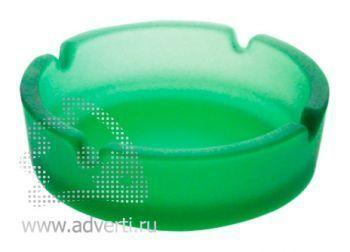 Пепельница стеклянная матовая PR-001, зеленая