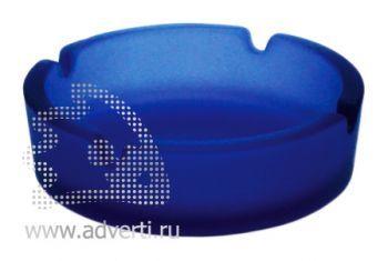 Пепельница стеклянная матовая PR-001, синяя