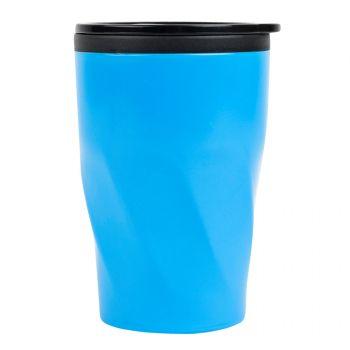 Термокружка «Neon», сбоку, голубая