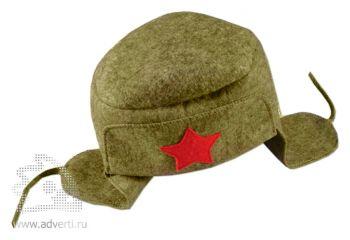 Шляпа для бани подарочная «Шапка-Ушанка», зеленая