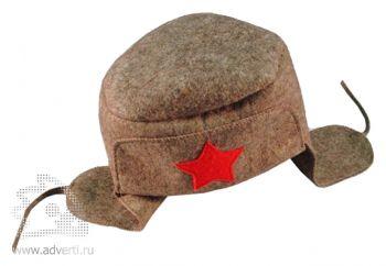 Шляпа для бани подарочная «Шапка-Ушанка», серая