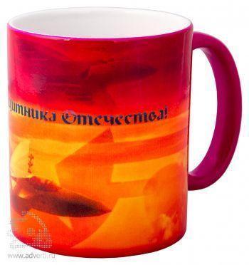 Кружка «Хамелеон» с эффектом смены изображения при нагревании, с горячей водой, розовая