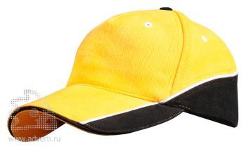 Бейсболка Leela «Combo Heavy». желтая с черным