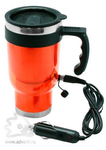 Термокружка с подогревом от прикуривателя, оранжевая