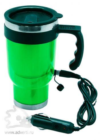 Термокружка с подогревом от прикуривателя, зеленая
