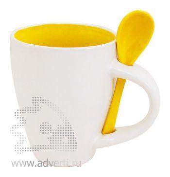 Кружка с ложкой PR-100, желтая