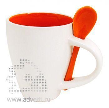 Кружка с ложкой PR-100, оранжевая