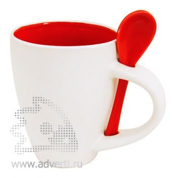 Кружка с ложкой PR-100, красная