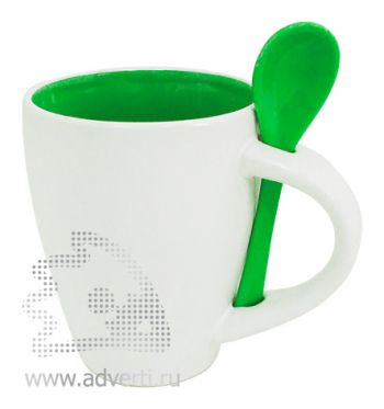Кружка с ложкой PR-100, зеленая