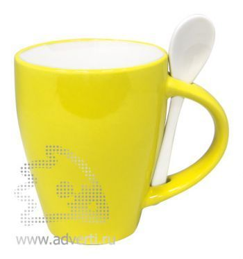 Кружка с ложкой PR-106, желтая