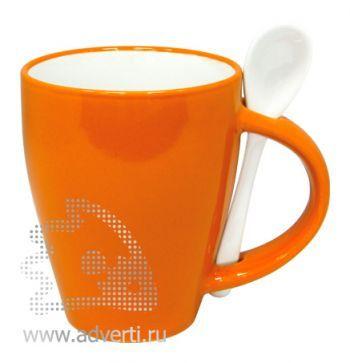 Кружка с ложкой PR-106, оранжевая