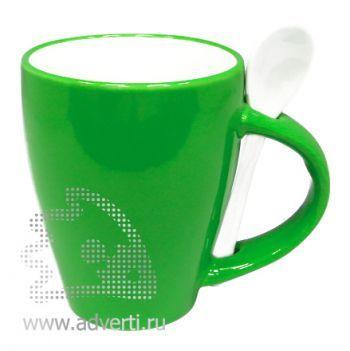 Кружка с ложкой PR-106, зеленая