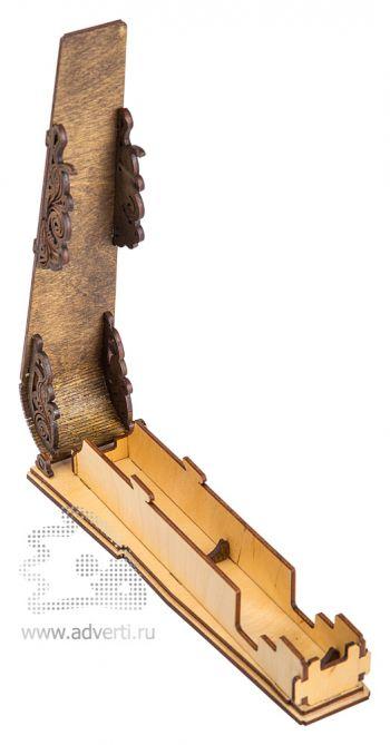 Пенал для ручки с изогнутой крышкой на магните, в открытом виде