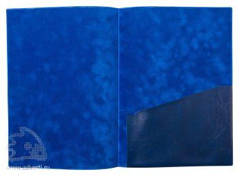 Папка с карманом из мягкой эко-кожи, формат А4, синяя, в открытом виде