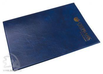 Папка с карманом из мягкой эко-кожи, формат А4, синяя