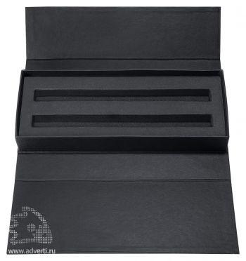 Картонный футляр для двух ручек, черный