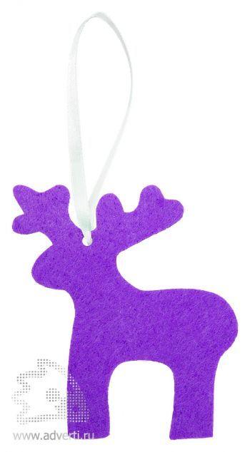 Игрушка новогодняя «Олень» из фетра, фиолетовая