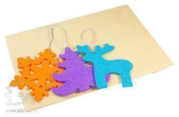 Набор елочных игрушек из фетра «Волшебный лес», в крафт-пакете