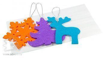 Набор елочных игрушек из фетра «Волшебный лес», в белом крафт-пакете