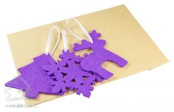 Набор елочных игрушек из фетра «Новый Год!», в крафт-пакете