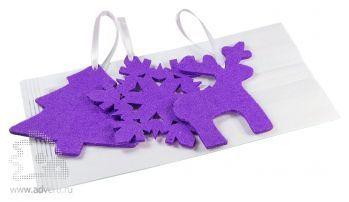 Набор елочных игрушек из фетра «Новый Год!», в белом крафт-пакете