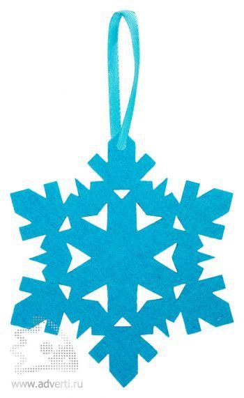 Игрушка новогодняя «Снежинка 2» из фетра, голубая