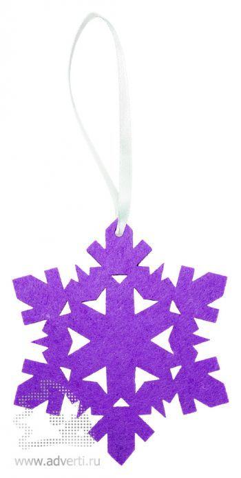 Игрушка новогодняя «Снежинка 2» из фетра, фиолетовая