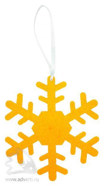 Игрушка новогодняя «Снежинка 1» из фетра, оранжевая