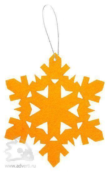 Игрушка новогодняя «Снежинка 2» из фетра, оранжевая