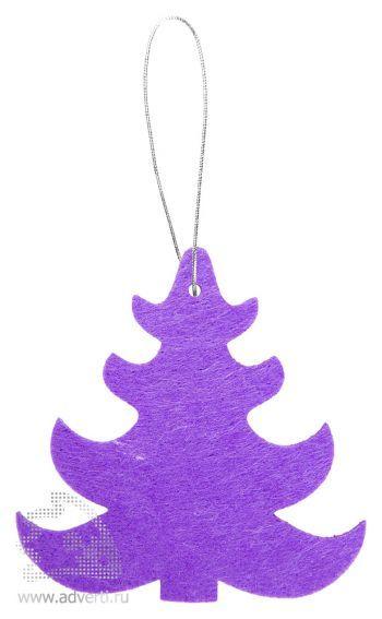 Игрушка новогодняя «Ёлочка 1» из фетра, фиолетовая