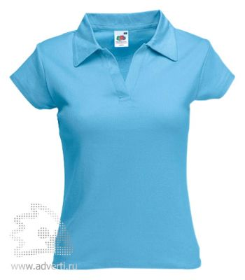 Рубашка поло «Lady-Fit Rib Polo», женская, голубая
