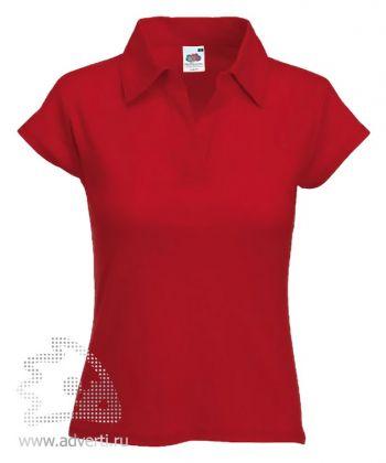 Рубашка поло «Lady-Fit Rib Polo», женская, красная