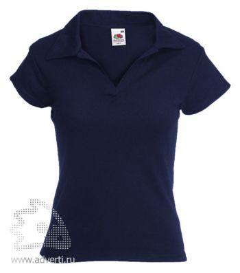 Рубашка поло «Lady-Fit Rib Polo», женская, темно-синяя