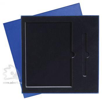 Подарочная упаковка с ложементом на 2 предмета: ежедневник А5 и ручка, синяя
