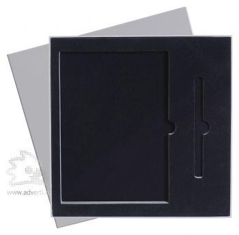 Подарочная упаковка с ложементом на 2 предмета: ежедневник А5 и ручка, серая