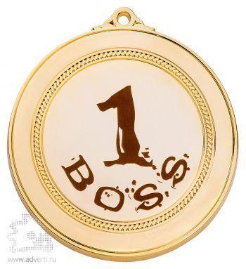 Металлическая медаль под гравировку с орнаментом, золотистая, с ушком