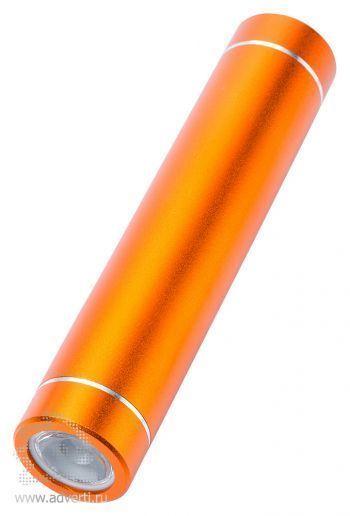 Универсальное зарядное устройство «Power bank» с фонариком, оранжевое