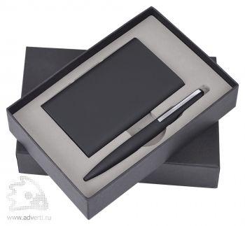 Набор «Mirror» универсальное зарядное устройство (6000мАh) и ручка, черный