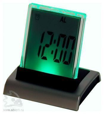 Промо-часы с разноцветной подсветкой «Дисплей», зеленая подсветка