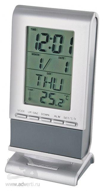 Часы-будильник, календарь, термометр с подсветкой «Прогноз»