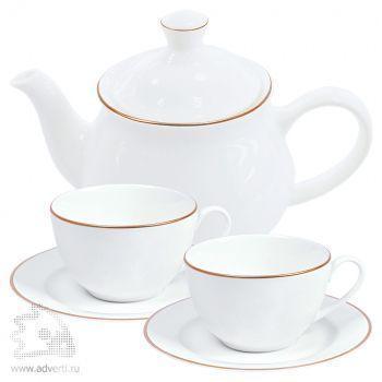 Набор «Goldi»:две чайных пары и чайник в подарочной упаковке
