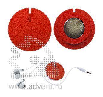 Устройство для скручивания наушников с креплением на магните, красный