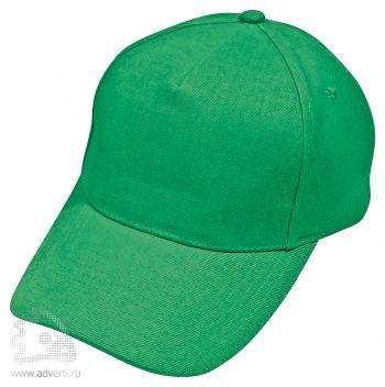 Бейсболка «Hit» 5 клиньев, зеленая