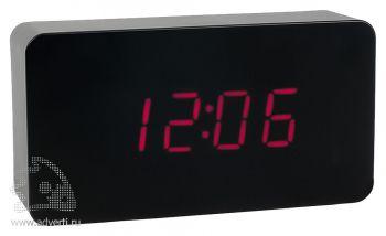 Часы «Камас» с датой, будильником и термометром, черные
