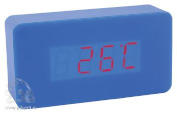 Часы «Камас» с датой, будильником и термометром, синие