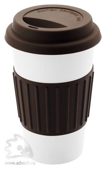 Кружка «Cafe» с силиконовой крышкой и ободком, коричневый