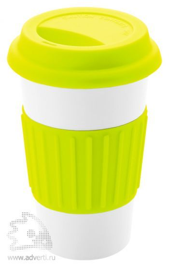 Кружка «Cafe» с силиконовой крышкой и ободком, светло-зеленый